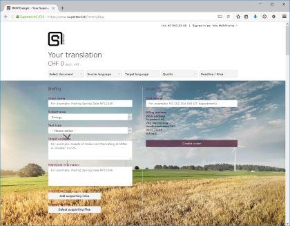 Supertext corporate platform example BKW