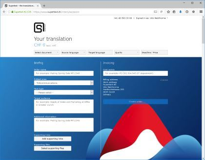 Supertext corporate platform example Swisscom