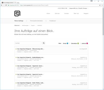 Screenshot Supertext Auftragsverwaltung