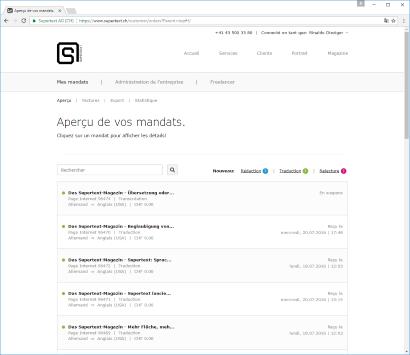 Supertext Corporate gestion des mandats