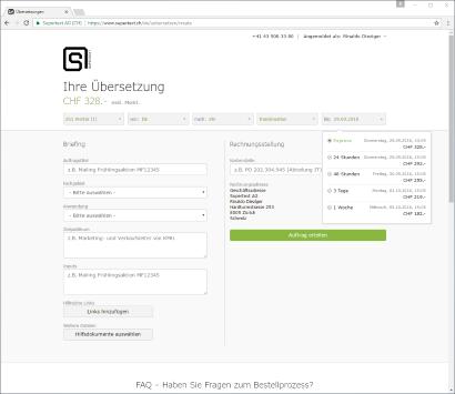 Screenshot Supertext Online-Preisrechner
