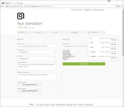Screenshot Supertext corporate online price calculator