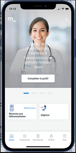 Capture d'écran application Medgate